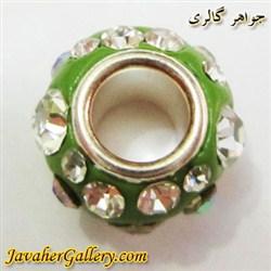 مهره گردنبند و دستبند نقره پاندورا سبز پر رنگ با نگینهای درخشان