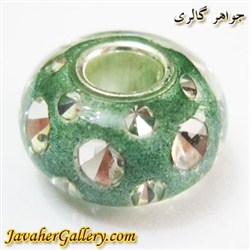 مهره دستبند و گردنبند نقره پاندورا pandora سبز شفاف با نگینهای زیرکن