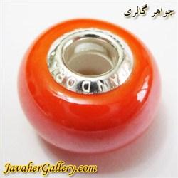 حلقه دستبند و گردنبند نقره پاندورا pandora اصل نارنجی با سنگ عقیق براق