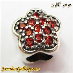حلقه نقره گردنبند و دستبند pandora پاندورا اصل طرح گل با سنگهای یاقوت قرمز