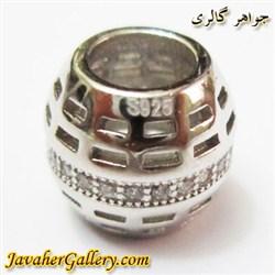 حلقه نقره گردنبند و دستبند pandora پاندورا اصل استوانه ای با سنگهای زیرکن سفید زیبا