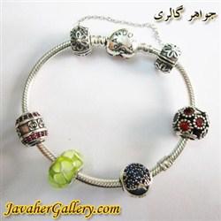 دستبند نقره پاندورا pandora اصل طرح قلب با مهره های نقره یاقوت لوکس و زیبا