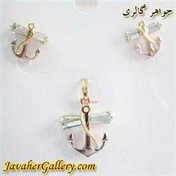نیم ست گوشواره و آویز ژوپینگ xuping طرح لنگر با روکش آب طلا و رادیوم