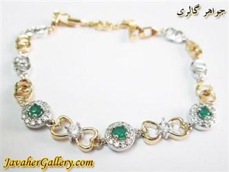 دستبند ژوپینگ xuping طرح قلب با روکش آب طلا و رادیوم و نگینهای سبز و سفید