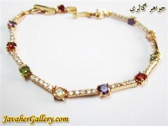 دستبند ژوپینگ xuping زیبا با روکش آب طلا و نگینهای رنگارنگ