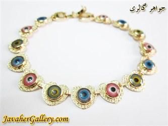 دستبند ژوپینگ xuping چشم و نظر قلبی با روکش آب طلا و نگینهای رنگارنگ