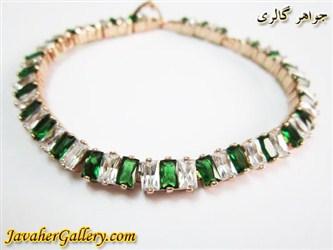 دستبند ژوپینگ xuping زیبا با نگینهای سبز و سفید و روکش آب طلا