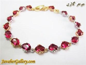 دستبند ژوپینگ xuping زیبا با نگینهای درشت قرمز و روکش آب طلا