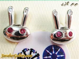 گوشواره میخی نقره طرح خرگوش با نگینهای زیرکن سنتاتیک
