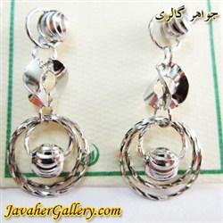 گوشواره میخی نقره آویز دار با طرح حلقه ای زیبا و درخشان